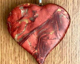 Large Polymer Clay Heart Pendant Hung On A Stirling Silver Chain