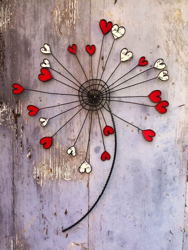 Flower In Wire Dandelion Wall Decoration Flower Metal Fabric Decoration Boho Gift With Red Heart Valentine S Day Mother S Parties