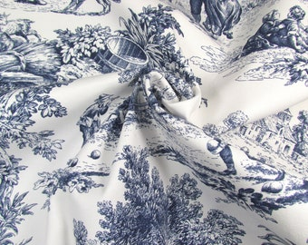 Cotton Toile de Jouy canvas. Printed white and navy blue fabric.