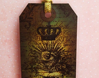 """Brand green pages """"Curiosities"""" flaming eye, Crown and key"""