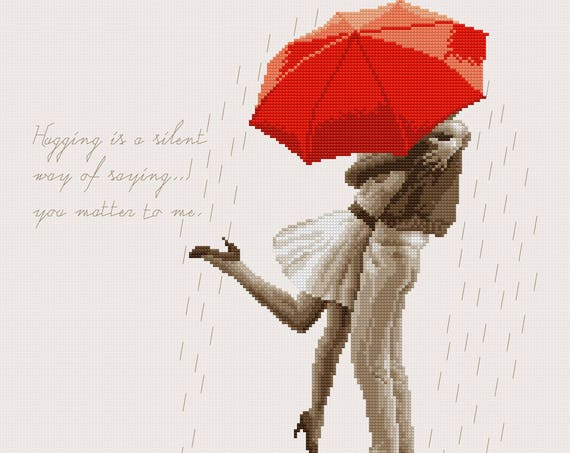 "Cross-stitch pattern ""Lovers in the rain"" sepia"