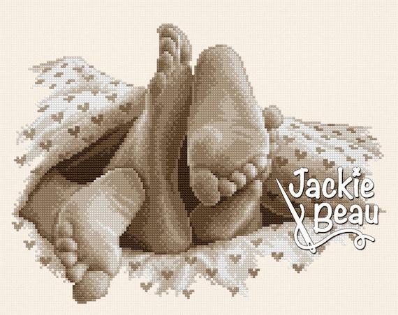 "Cross-stitch pattern ""Lazy Feet"" sepia"