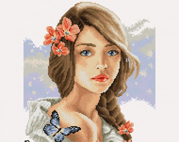 "Cross-stitch pattern ""Girl with braid"""