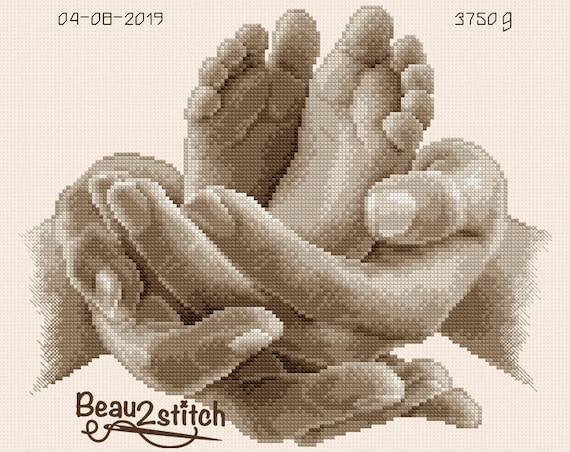 "Cross-stitch pattern ""Two little feet"" sepia"