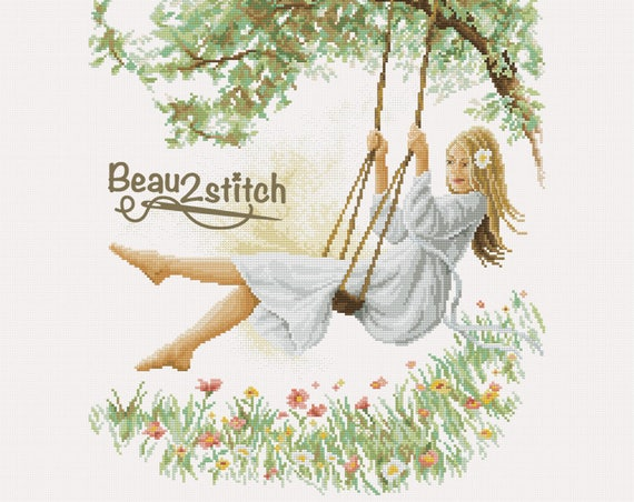 "Cross-stitch pattern ""Girl on the swing"""