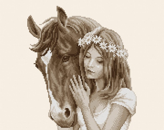 "Cross-stitch pattern ""Girl with horse"" sepia"