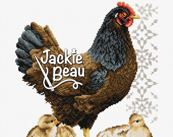 "Cross-stitch pattern ""Chicken with chicks"""
