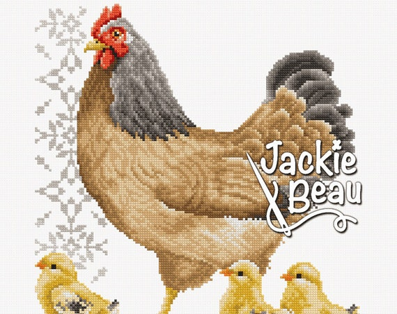 "Cross-stitch pattern ""Chicken with chicks ll"""