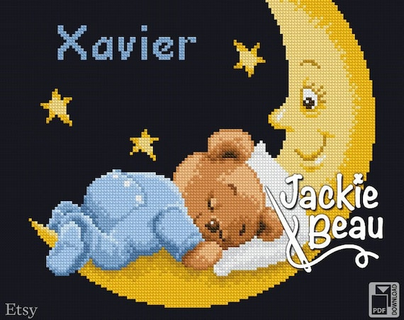 "Cross-stitch pattern ""Sleep on the moon"""