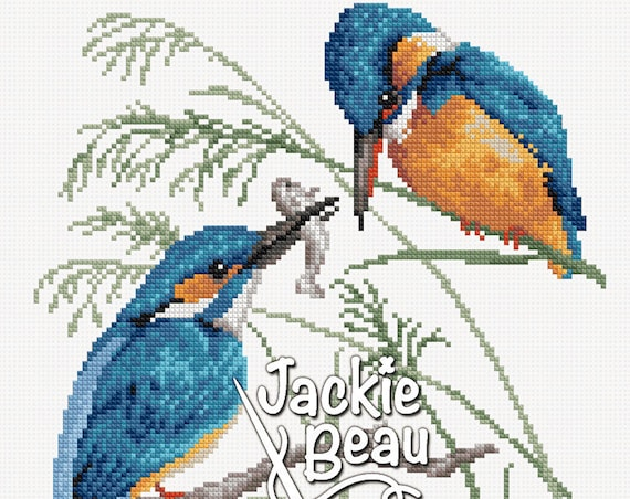 "Cross-stitch pattern ""Kingfishers"""