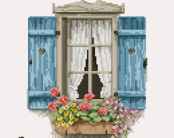"Cross stitch pattern ""Farm window"" PDF"