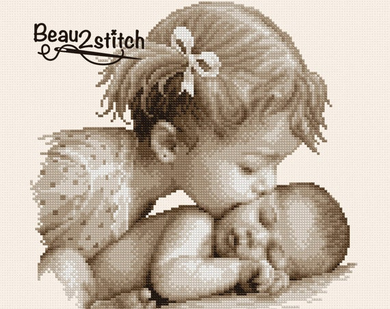 "Cross stitch pattern ""Big sister's kiss"" PDF"