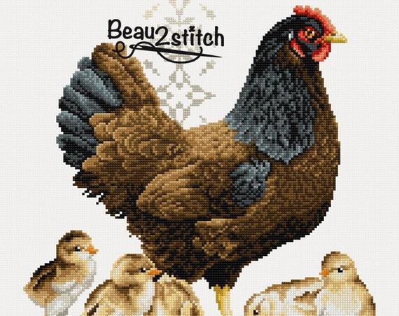 """Cross-stitch pattern """"Mother chicken"""""""