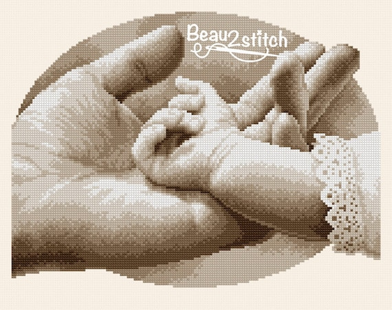 "Cross stitch pattern ""Small and big hand"""