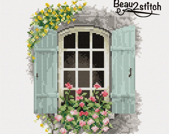 "Cross stitch pattern ""Country house window"" PDF"