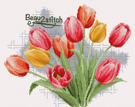 Cross-stitch patternTulips