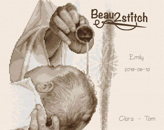 "Cross-stitch pattern ""Baptism"" sepia"