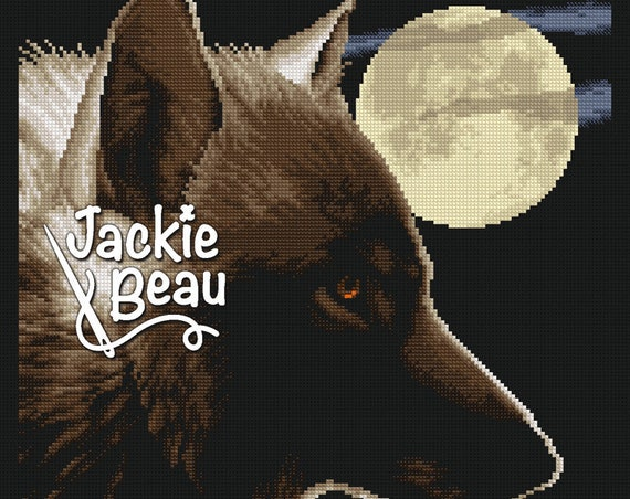 "Cross-stitch pattern ""Full moon wolf"""
