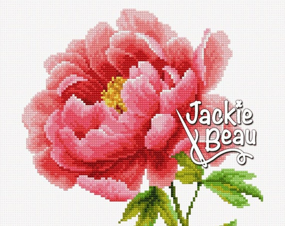 "Cross-stitch pattern ""Pink peony"""