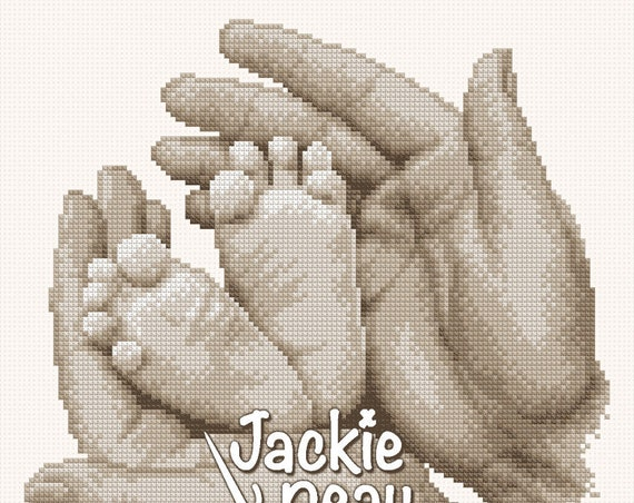 "Cross stitch pattern ""Small feet in hands"""