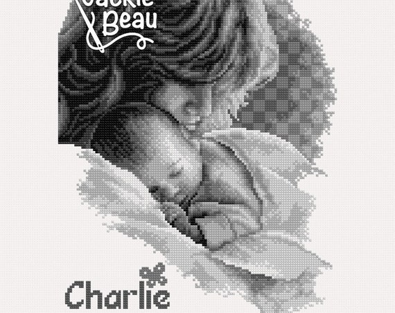 "Cross-stitch pattern ""Mother and baby"" sepia"