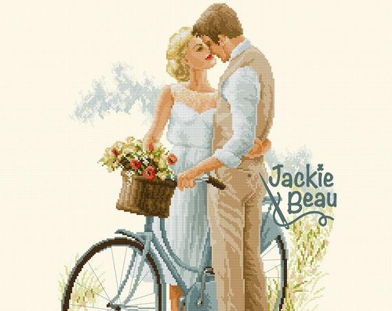 "Cross-stitch pattern ""Date with the bike"""