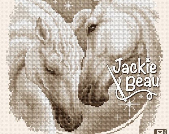 "Cross-stitch pattern ""Two Horses"" by Jackie Beau - pdf download"