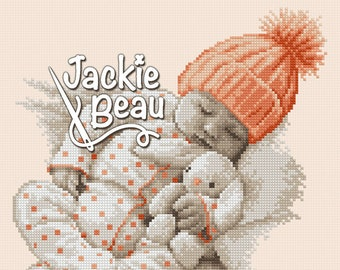 Cross stitch pattern - Baby with knitted hat - by Jackie Beau - pdf-download © Beau2stitch embroidery pattern