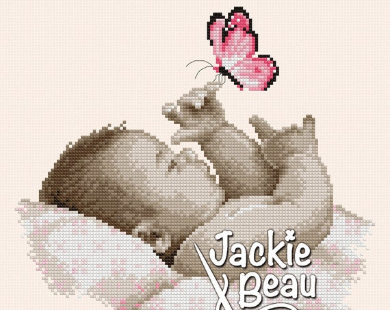 "Cross-stitch pattern ""Baby with butterfly"" by Jackie Beau - PDF download"