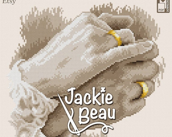 "Cross-stitch pattern ""Wedding rings"" by Jackie Beau - pdf download left and right version"