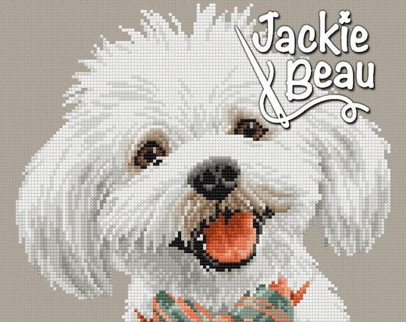 "Cross stitch pattern ""Maltese dog"" by Jackie Beau - pdf download"