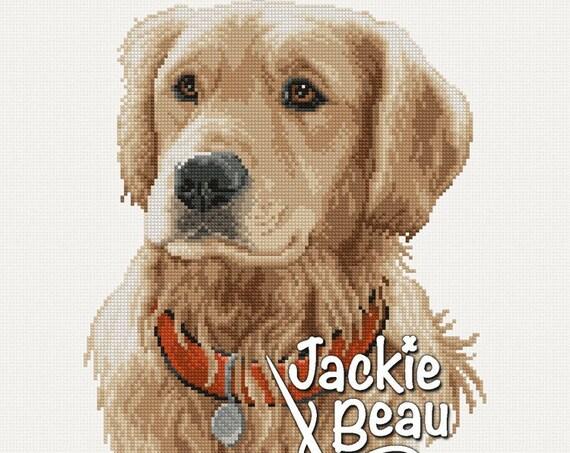"Cross-stitch pattern ""Golden Retriever"" by Jackie Beau - pdf download"