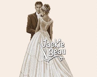 Cross stitch pattern - Wedding - by Jackie Beau - pdf download © Beau2stitch embroidery pattern
