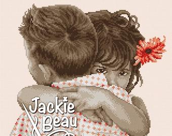 Cross-stitch pattern - Embrace - by Jackie Beau - pdf download © Beau2stitch embroidery pattern