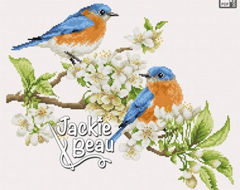 Cross-stitch pattern - Blue birds with blossoms - by Jackie Beau - pdf download © Beau2stitch embroidery
