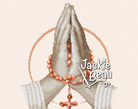 "Cross-stitch pattern ""Praying hands 2"" by Jackie Beau - pdf download = Free delivery"