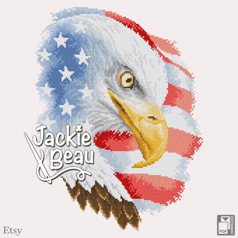 Cross-stitch pattern USA eagle by Jackie Beau  image 0