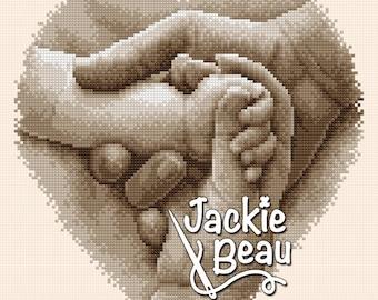 Cross stitch pattern - Young family - by Jackie Beau - pdf download © Beau2stitch embroidery pattern
