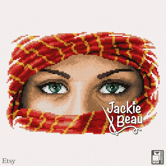 "Cross stitch pattern ""Green eyes"" by Jackie Beau - pdf download"