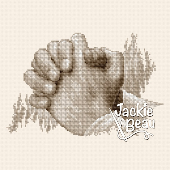 "Cross-stitch pattern ""Praying hands"" sepia"