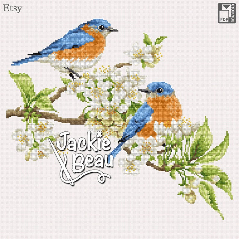 Cross-stitch pattern Blue birds with blossoms by image 0