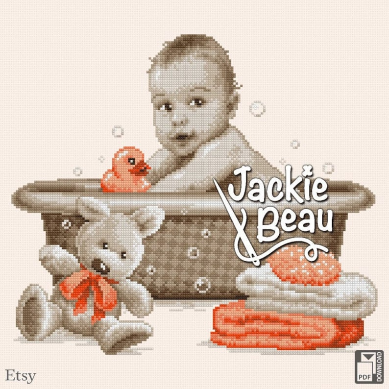 Cross-stitch pattern Baby in bathtub by jackie image 0