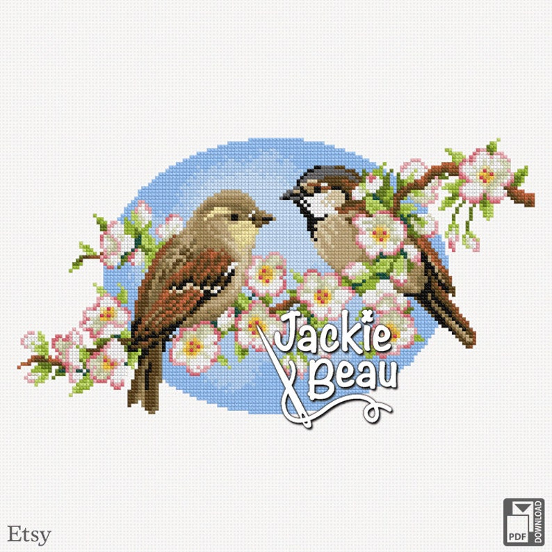 Cross-stitch pattern Sparrows blossom by Jackie image 0