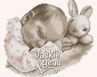 Cross stitch pattern - Sleeping with a bunny - by Jackie Beau - pdf-download © Beau2stitch embroidery pattern
