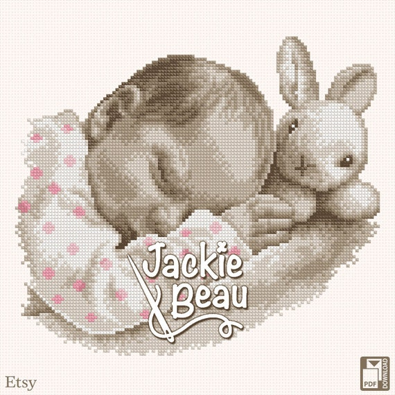 "Cross stitch pattern ""Sleeping with a bunny"" by Jackie Beau - pdf download"