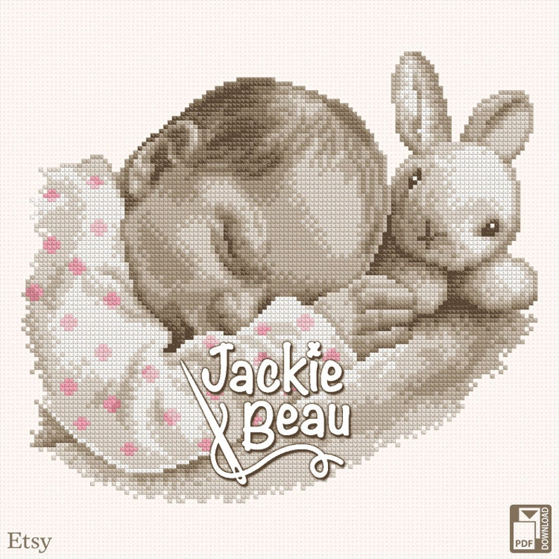 Cross stitch pattern Sleeping with a bunny by image 0
