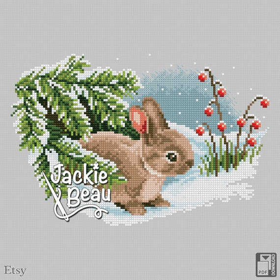 "Cross-stitch pattern ""Rabbit in the snow"""