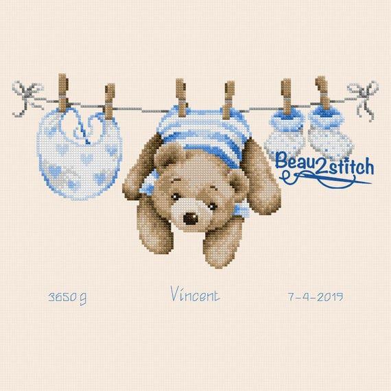 """Cross-stitch pattern """"The clothesline"""""""