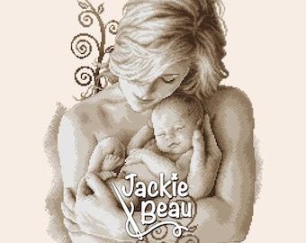 Cross-stitch pattern - Motherhood - by Jackie Beau - pdf-download © Beau2stitch embroidery pattern
