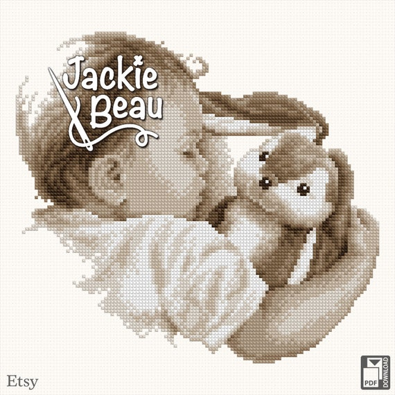 "Cross stitch pattern ""Sleeping with hug"""